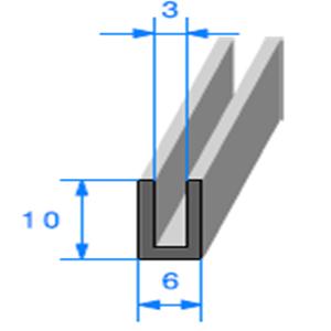 Compact en U   [10 x 6 mm]   [Accroche 3 mm]   Vendu au Mètre