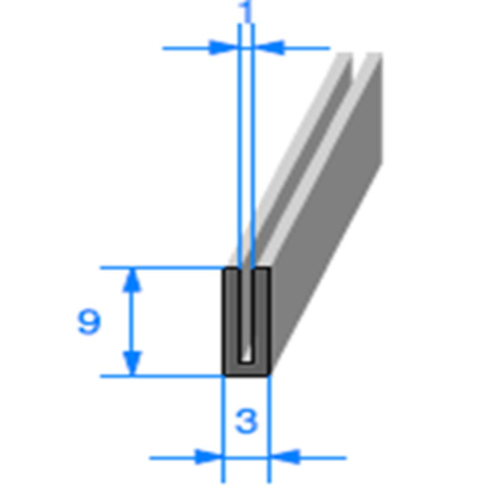 Compact en U   [9 x 3 mm]   [Accroche 1 mm]   Vendu au Mètre