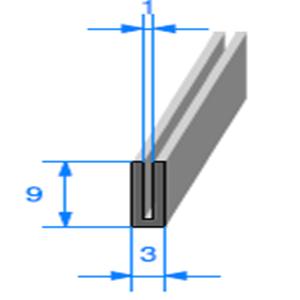 Compact en U <br /> [3 x 9 mm] <br /> Vendu au Mètre<br />