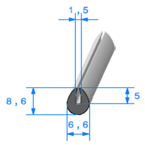 Compact en U   [8,6 x 6,6 mm]   [Accroche 1,5 mm]   Vendu au Mètre