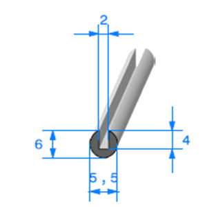 Compact en U   [6 x 5,5 mm]   [Accroche 2 mm]   Vendu au Mètre