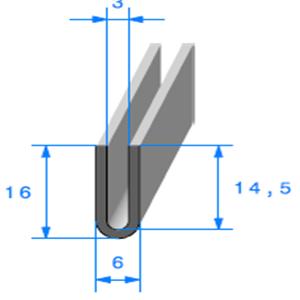 Compact en U   [16 x 6 mm]   [Accroche 3 mm]   Vendu au Mètre