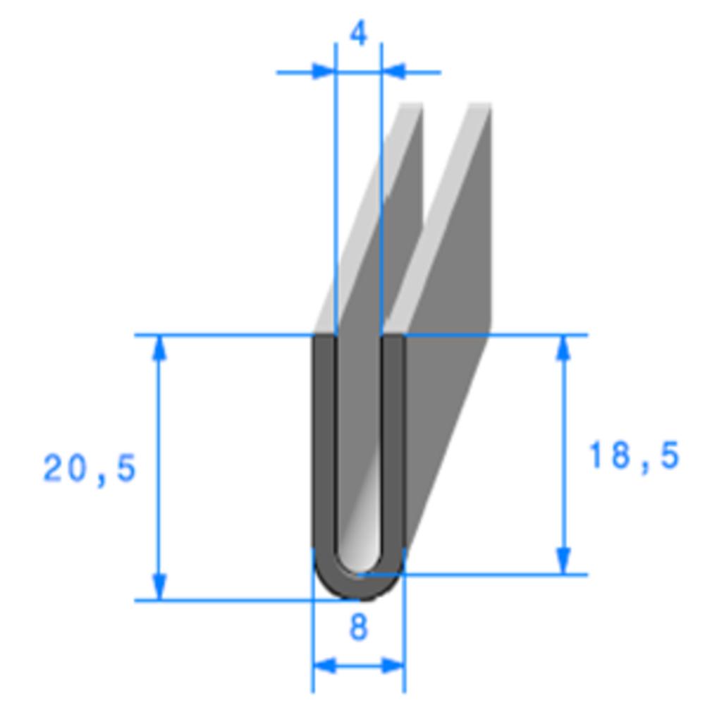 Compact en U   [20,5 x 8 mm]   [Accroche 4 mm]   Vendu au Mètre