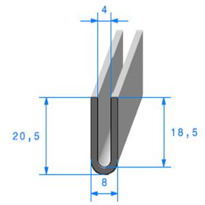 Compact en U <br /> [4 mm] <br /> Vendu au Mètre<br />