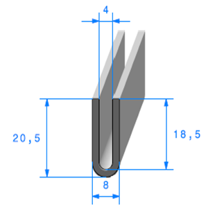 Compact en U <br /> [20,5 x 8 mm] <br /> [Accroche 4 mm] <br /> Vendu au Mètre<br />
