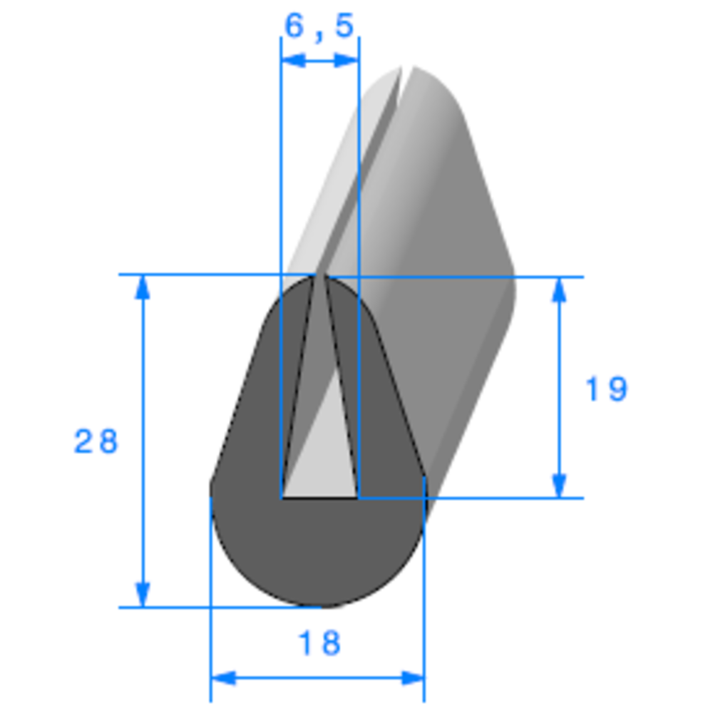 Compact en U   [28 x 18 mm]   [Accroche 6,5 mm]   Vendu au Mètre