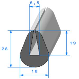 Compact en U <br /> [28 x 18 mm] <br /> [Accroche 6,5 mm] <br /> Vendu au Mètre<br />