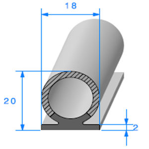 Semelle EPDM + Bulbe EPDM   [20 x 18 mm]   Vendu au Mètre