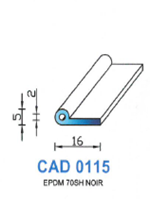 CAD0115N Profil EPDM [70SH] NOIR