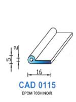 CAD0115N Profil EPDM   70 Shore   Noir