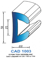 CAD1003B Profil EPDM   70 Shore   Blanc