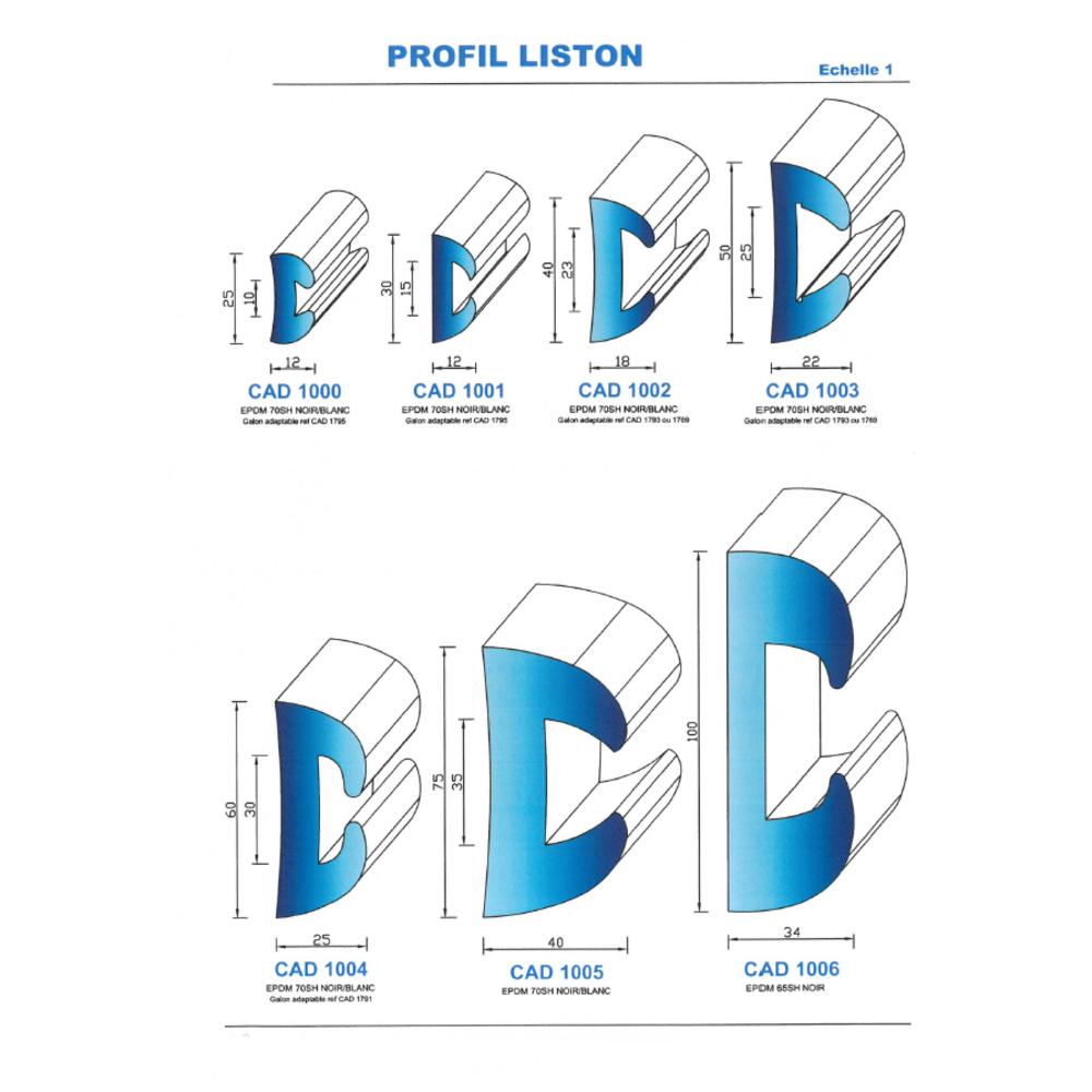 CAD1003C Profil EPDM   70 Shore   Couleur