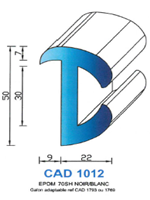 CAD1012B Profil EPDM   70 Shore   Blanc