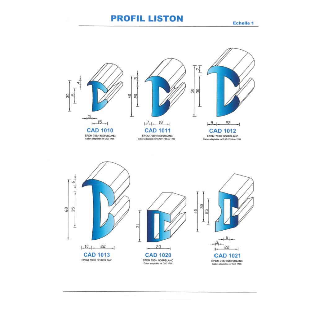 CAD1013C Profil EPDM   70 Shore   Couleur