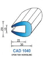 CAD1040B Profil EPDM <br /> 70 Shore <br /> Blanc<br />