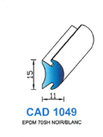 CAD1049B Profil EPDM   70 Shore   Blanc