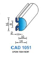 CAD1051N Profil EPDM   70 Shore   Noir