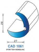 CAD1061B Profil EPDM   70 Shore   Blanc