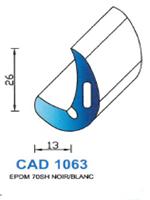 CAD1063B Profil EPDM   70 Shore   Blanc