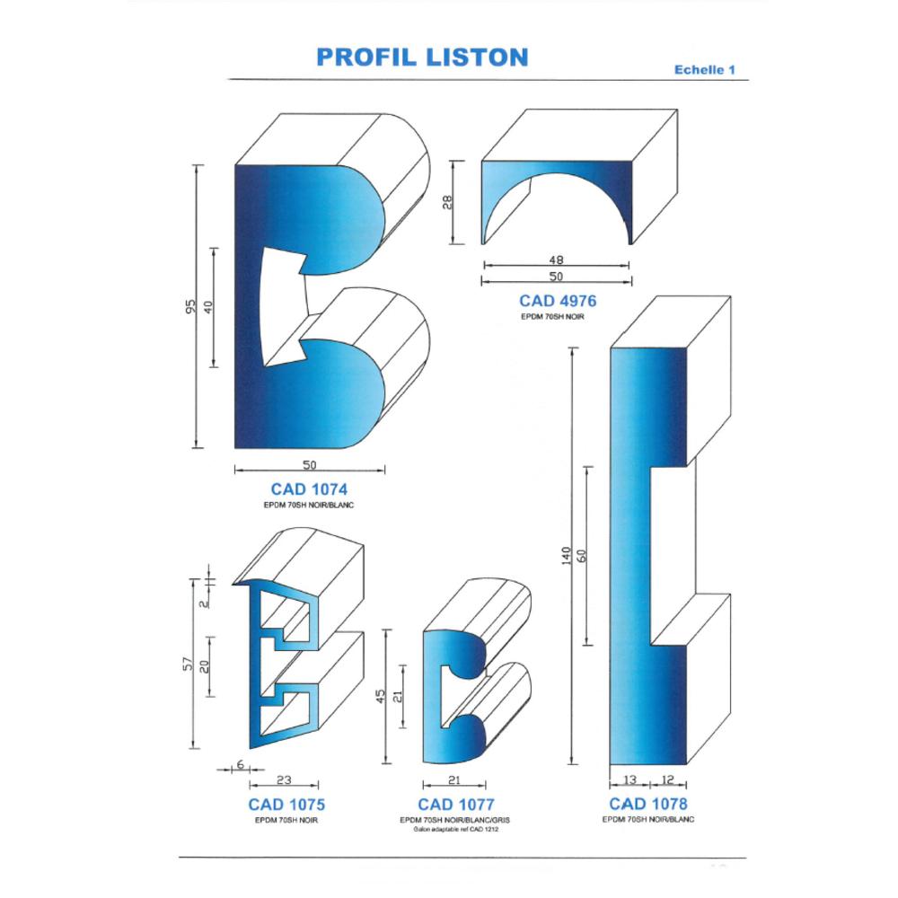 CAD1077B Profil EPDM   70 Shore   Blanc
