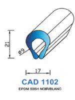 CAD1102B Profil EPDM <br /> 50 Shore <br /> Blanc<br />