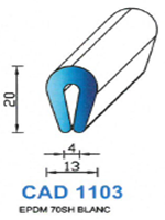 CAD1103B Profil EPDM <br /> 70 Shore <br /> Blanc<br />