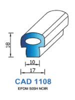 CAD1108N Profil EPDM   50 Shore   Noir