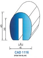 CAD1116B Profil EPDM <br /> 70 Shore <br /> Blanc<br />