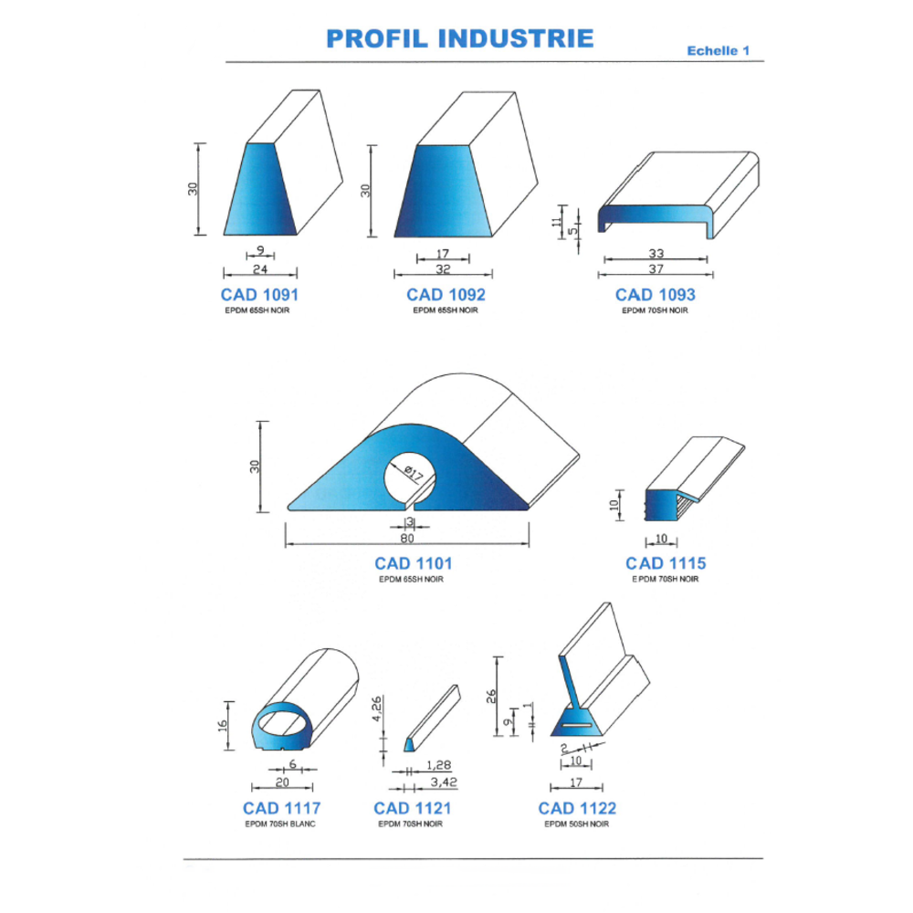 CAD1117B Profil EPDM   70 Shore   Blanc