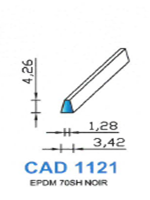 CAD1121N Profil EPDM   70 Shore   Noir