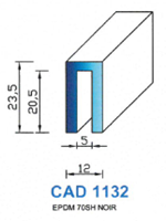 CAD1132N Profil EPDM   70 Shore   Noir