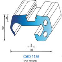 CAD1136G Profil EPDM   70 Shore   Gris