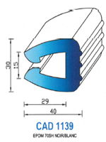 CAD1139B Profil EPDM <br /> 70 Shore <br /> Blanc<br />