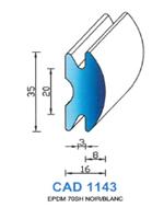 CAD1143B Profil EPDM   70 Shore   Blanc