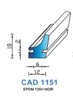 CAD1151N Profil EPDM   70 Shore   Noir