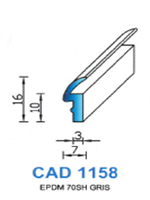 CAD1158G Profil EPDM   70 Shore   Gris