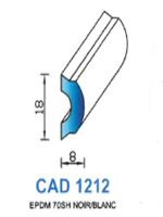 CAD1212B Profil EPDM   70 Shore   Blanc