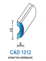CAD1212N Profil EPDM   70 Shore   Noir
