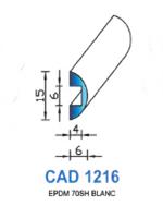 CAD1216B Profil EPDM   70 Shore   Blanc