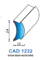 CAD1232G Profil EPDM   65 Shore   Gris