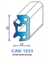 CAD1233B Profil EPDM   65 Shore   Blanc