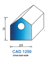 CAD1250N Profil EPDM   50 Shore   Noir