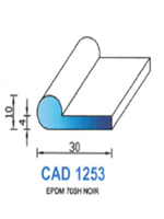 CAD1253N Profil EPDM   70 Shore   Noir