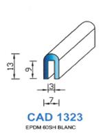 CAD1323B Profil EPDM <br /> 60 Shore <br /> Blanc<br />