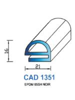 CAD1351N Profil EPDM <br /> 65 Shore <br /> Noir<br />
