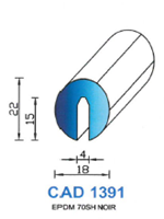 CAD1391B Profil EPDM <br /> 70 Shore <br /> Blanc<br />