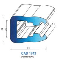CAD1743B Profil EPDM   65 Shore   Blanc