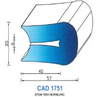 CAD1751B Profil EPDM   70 Shore   Blanc
