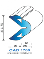 CAD1760B Profil EPDM   70 Shore   Blanc