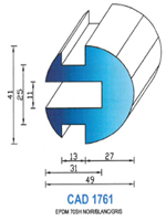 CAD1761G Profil EPDM   70 Shore   Gris